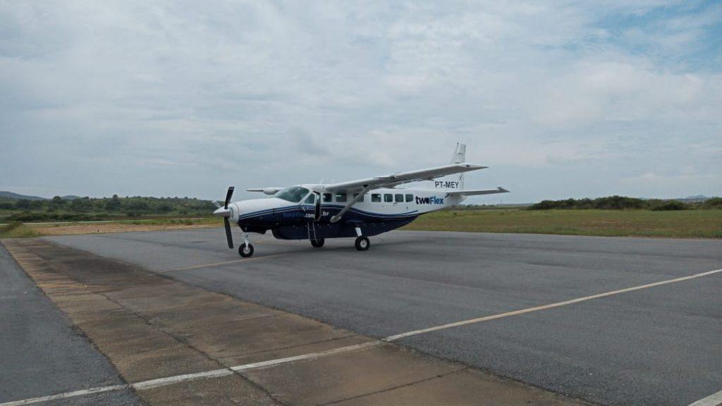 Aeronave após primeiro pouso em Búzios